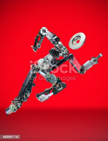 istock Running man assembled from spare parts 493581742