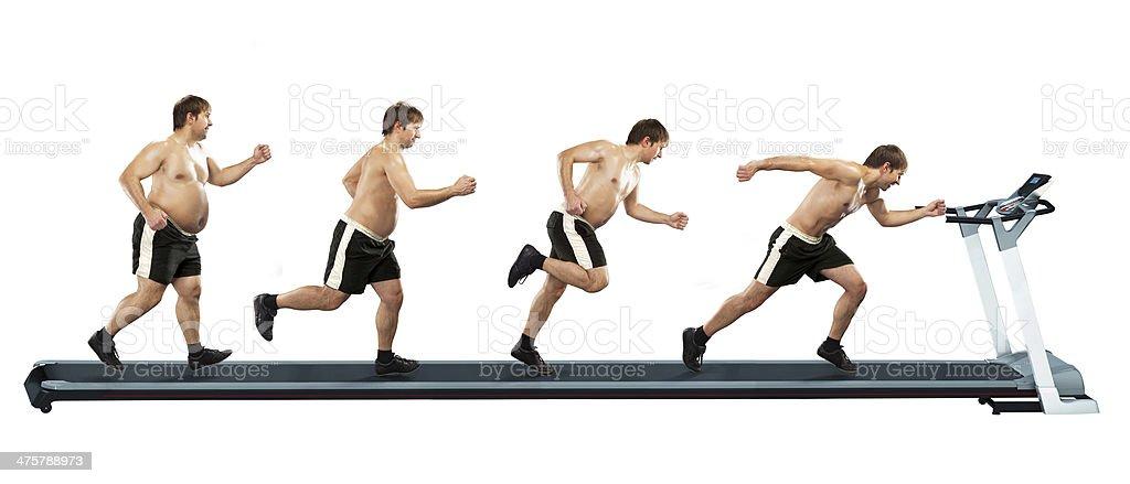 Hombre corriendo en la primera completo en el extremo de la fina - Foto de stock de Hombres libre de derechos