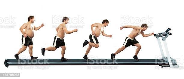 Hombre Corriendo En La Primera Completo En El Extremo De La Fina Foto de stock y más banco de imágenes de Hombres