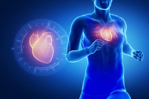 Running man focused on heart Running man focused on heart janulla stock pictures, royalty-free photos & images