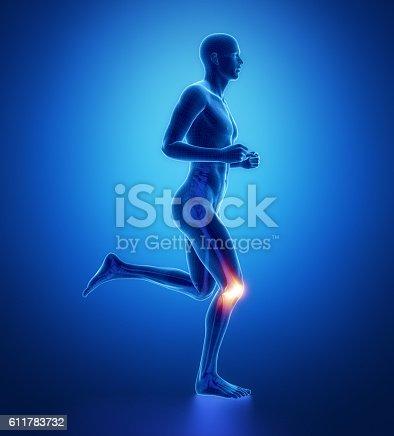 istock KNEE - running man leg scan in blue 611783732