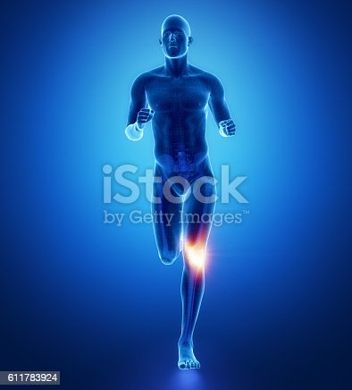 istock KNEE - running man leg scan in blue 611783924