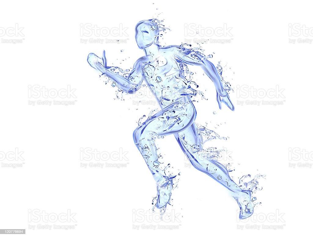 Running man liquid artwork stock photo