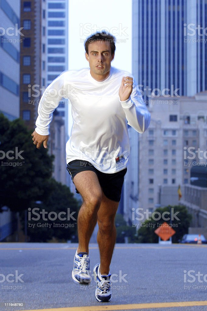 Running Man on Downtown Street royalty-free stock photo