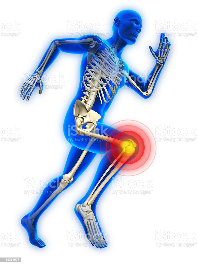 Running man with knee injury stock photo