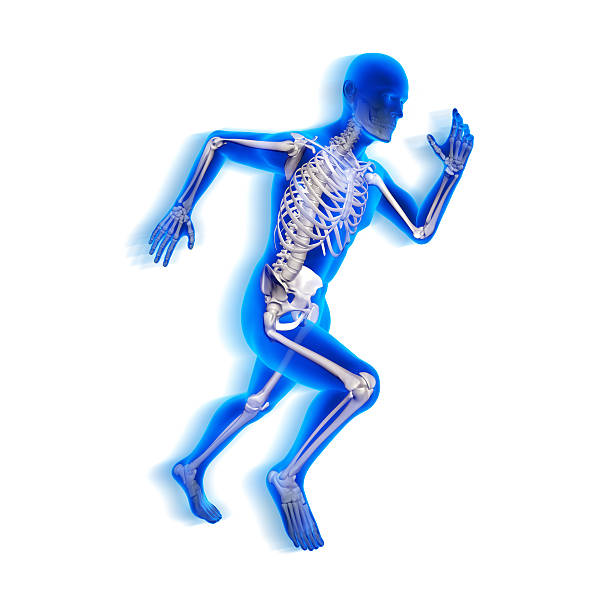 Running man x-ray isolated on white with clipping path stock photo