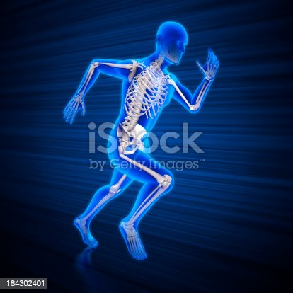 istock Running man x-ray with clipping path 184302401