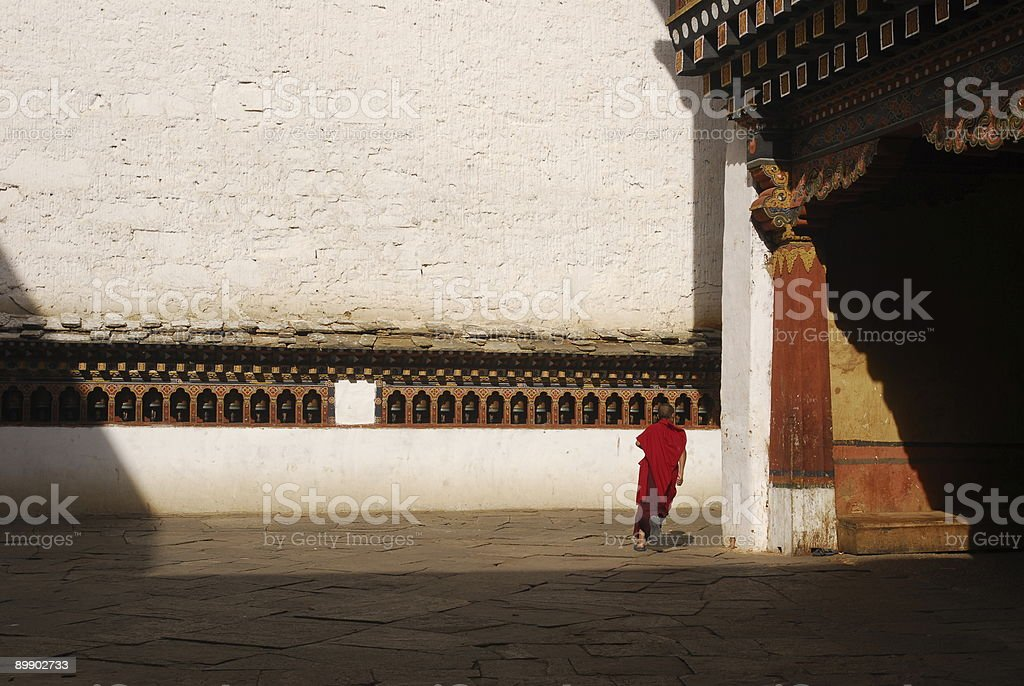 Running monk royalty-free stock photo