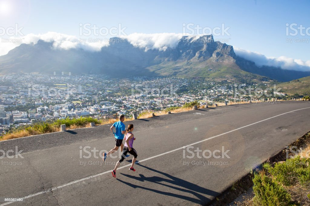 Running on a beautiful day above the city stock photo