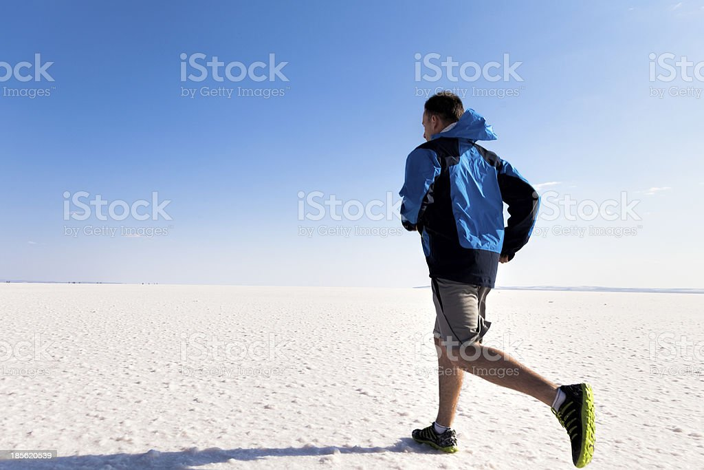 Running on salt stock photo