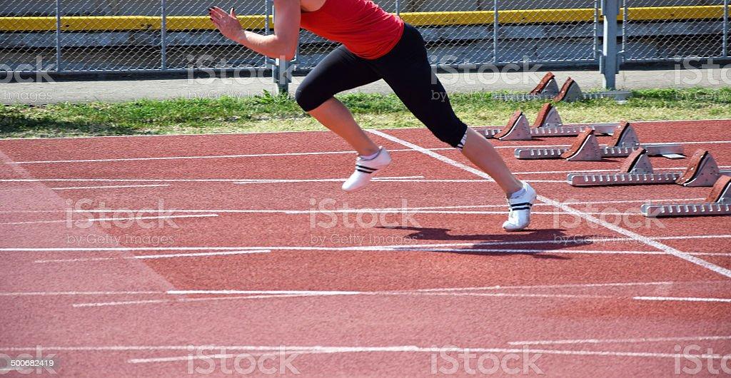 Running on the running track stock photo