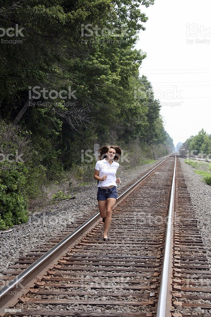 Running on Train Tracks royalty-free stock photo