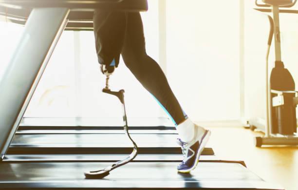 running on treadmill. - runner rehab gym foto e immagini stock