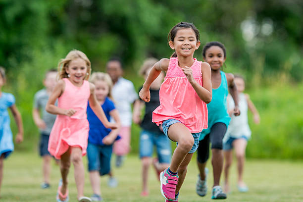 Running Outside During Recess stock photo