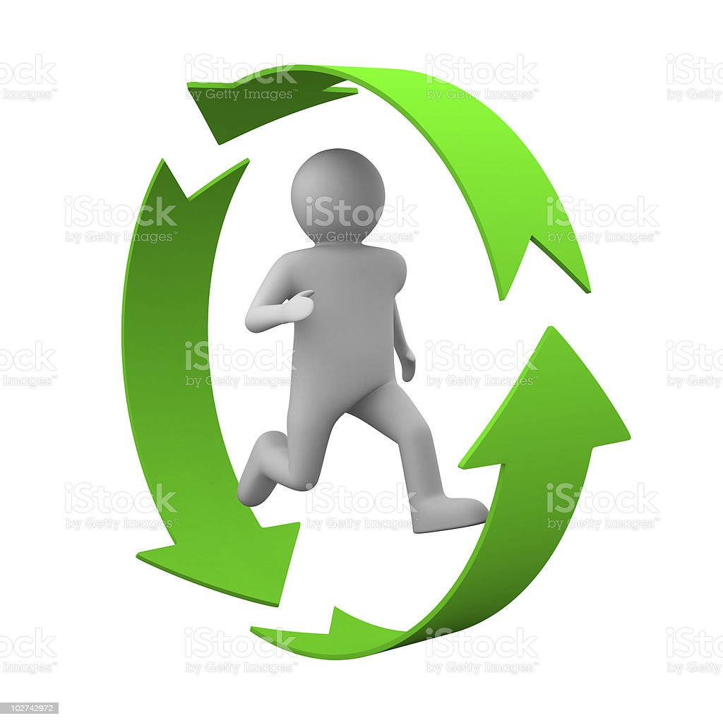 running person on white background. Isolated 3D image royalty-free stock photo