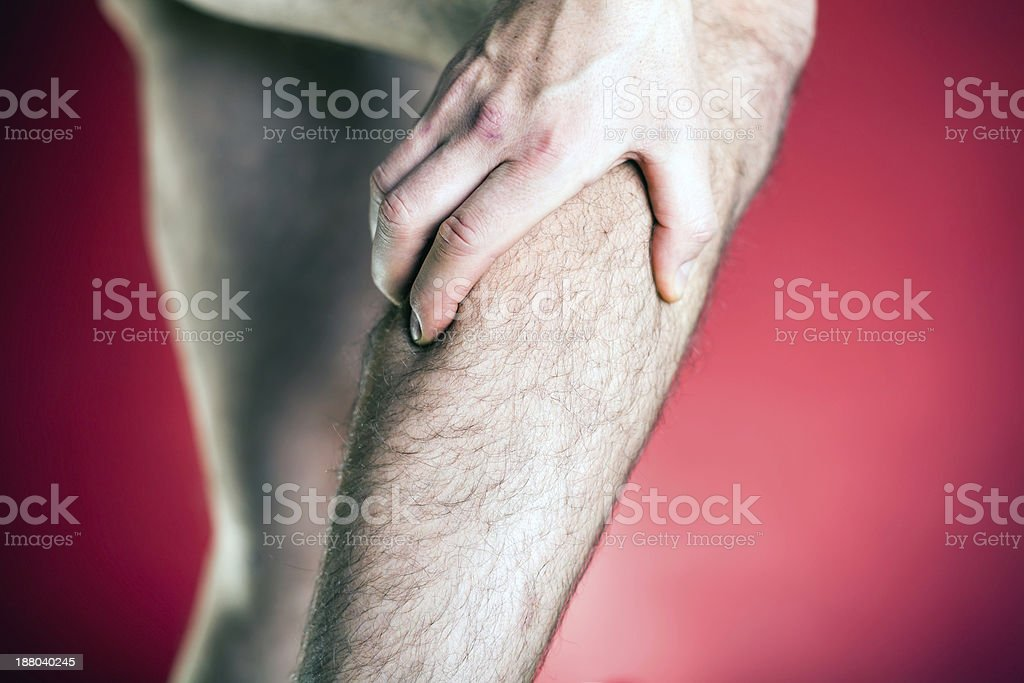 Running physical injury, leg pain royalty-free stock photo