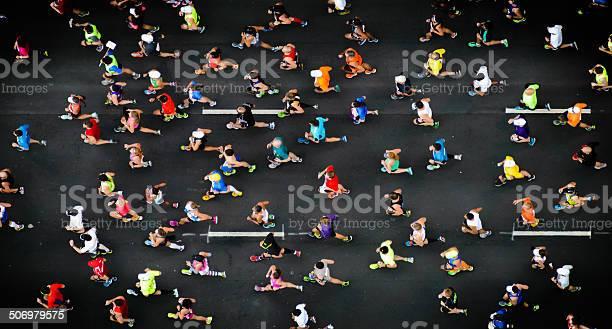 overhead shot of marathon