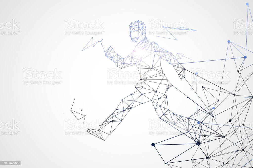Running polygonal man stock photo