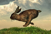 A brown rabbit dashes across a springtime field beneath cloudy skies. 3D Rendering