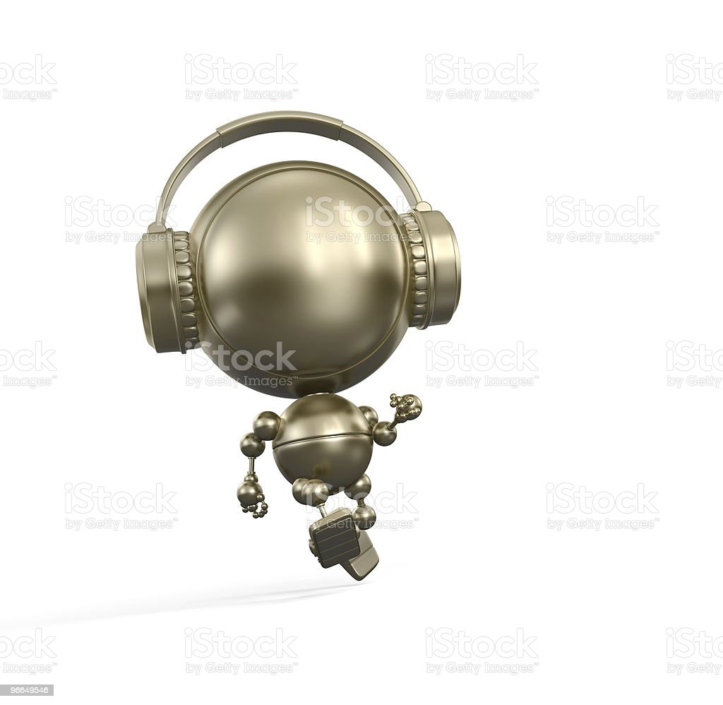 Running robot with Headphone royalty-free stock photo