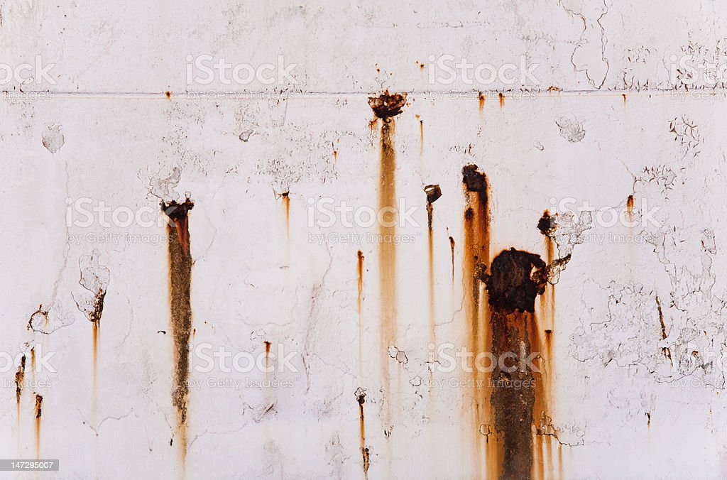 Running rust on steel hull stock photo