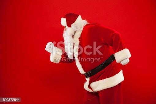 Running Santa Claus Red Background Merry Christmas - Stockowe zdjęcia i więcej obrazów Biały