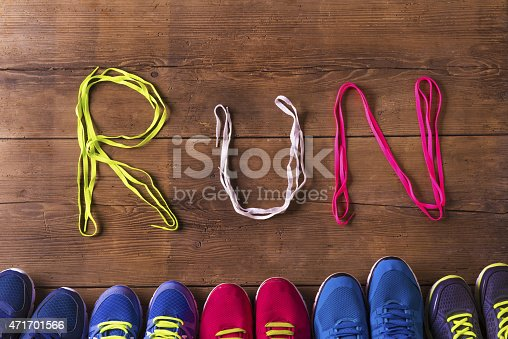 istock Running shoes on the floor 471701566