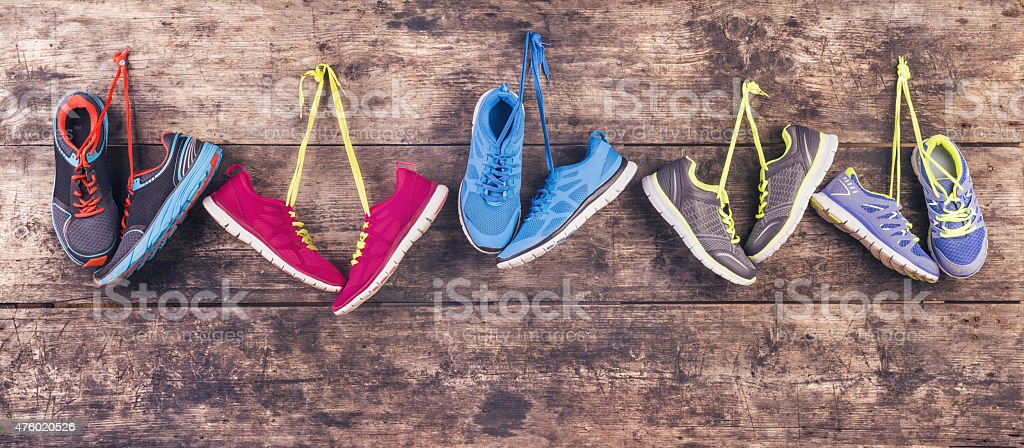 Running shoes on the floor stock photo