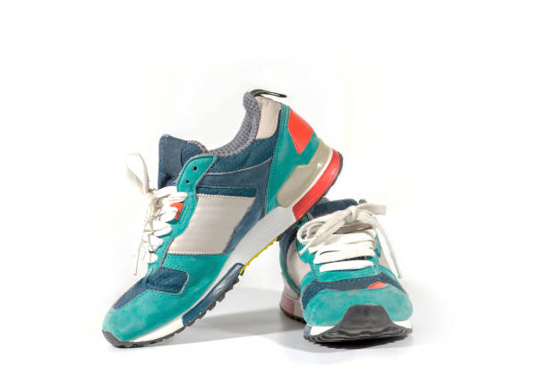 running shoes over white background stock photo