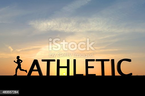 istock Running silhouette with the word athletic 483557264