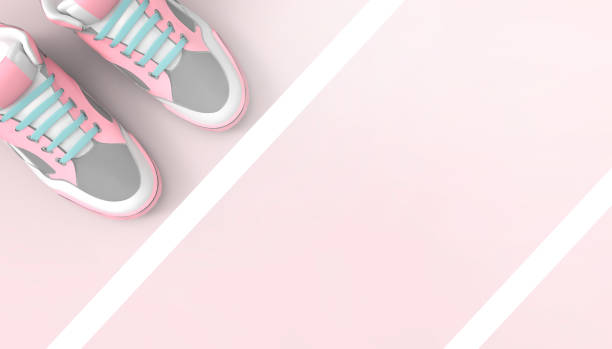 running sport and shoes jogging marathon concept art on pastel pink background - digital marathon foto e immagini stock