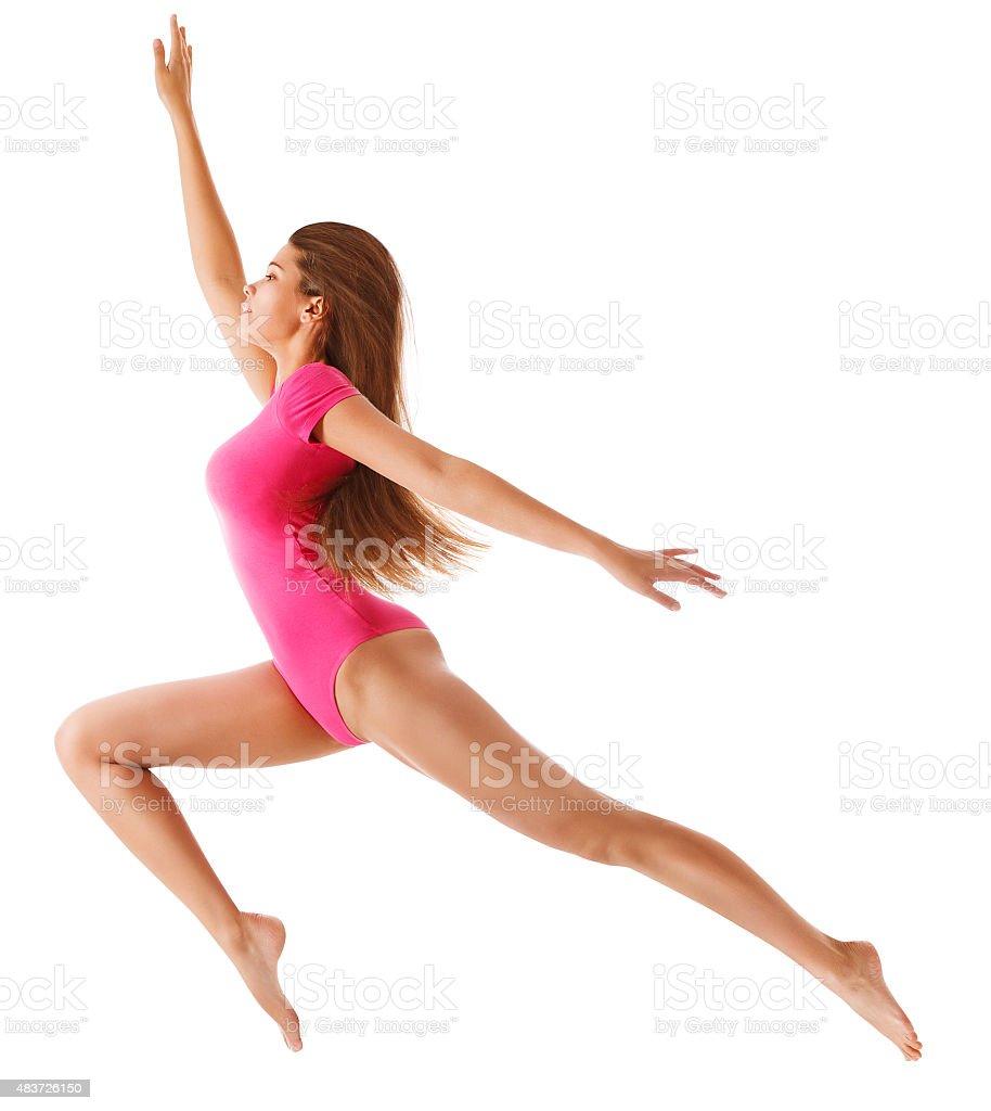Running Sport Woman Sexy Girl Long Jump Gymnast Leotard -6942