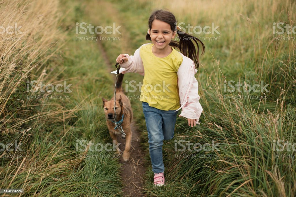 Running Through a Field of Grass stock photo
