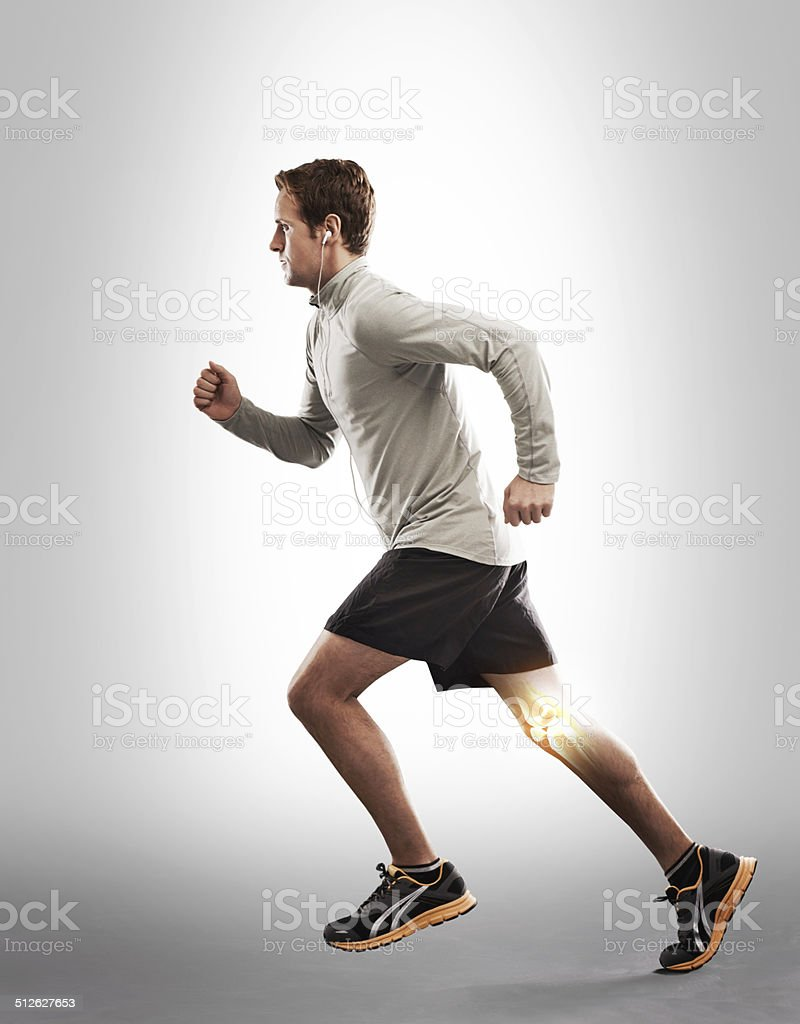 Running through the pain and inflammation stock photo