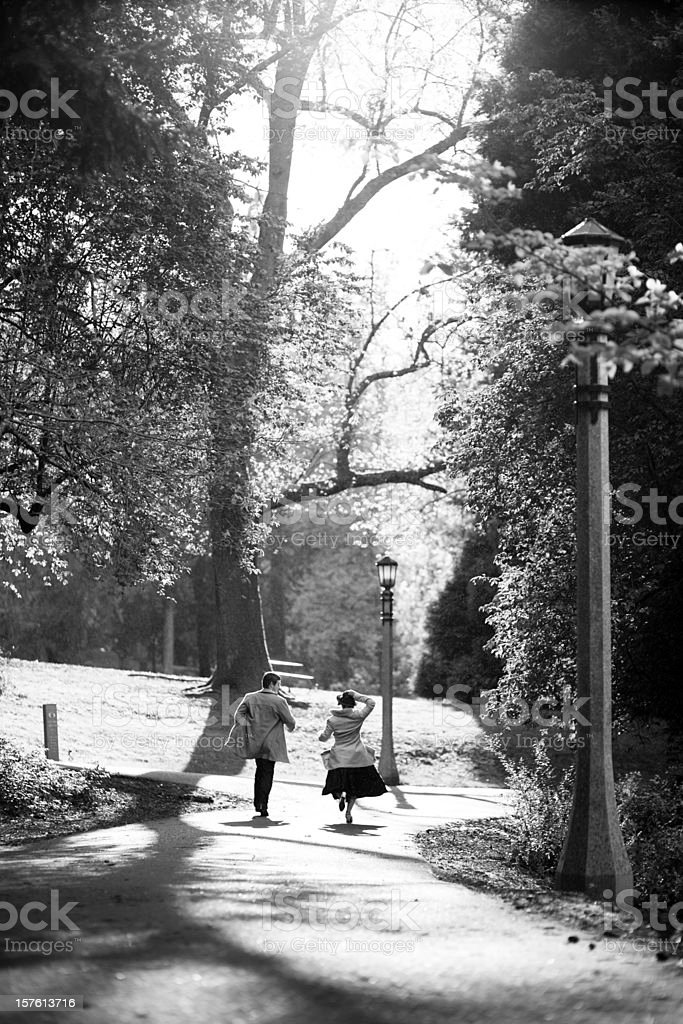 Running through the park stock photo