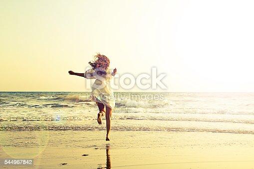 istock Running through the sea - imagination 544967842