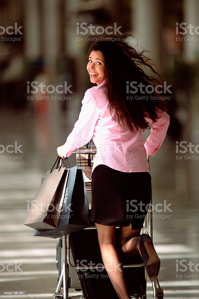Running to catch a flight royalty-free stock photo