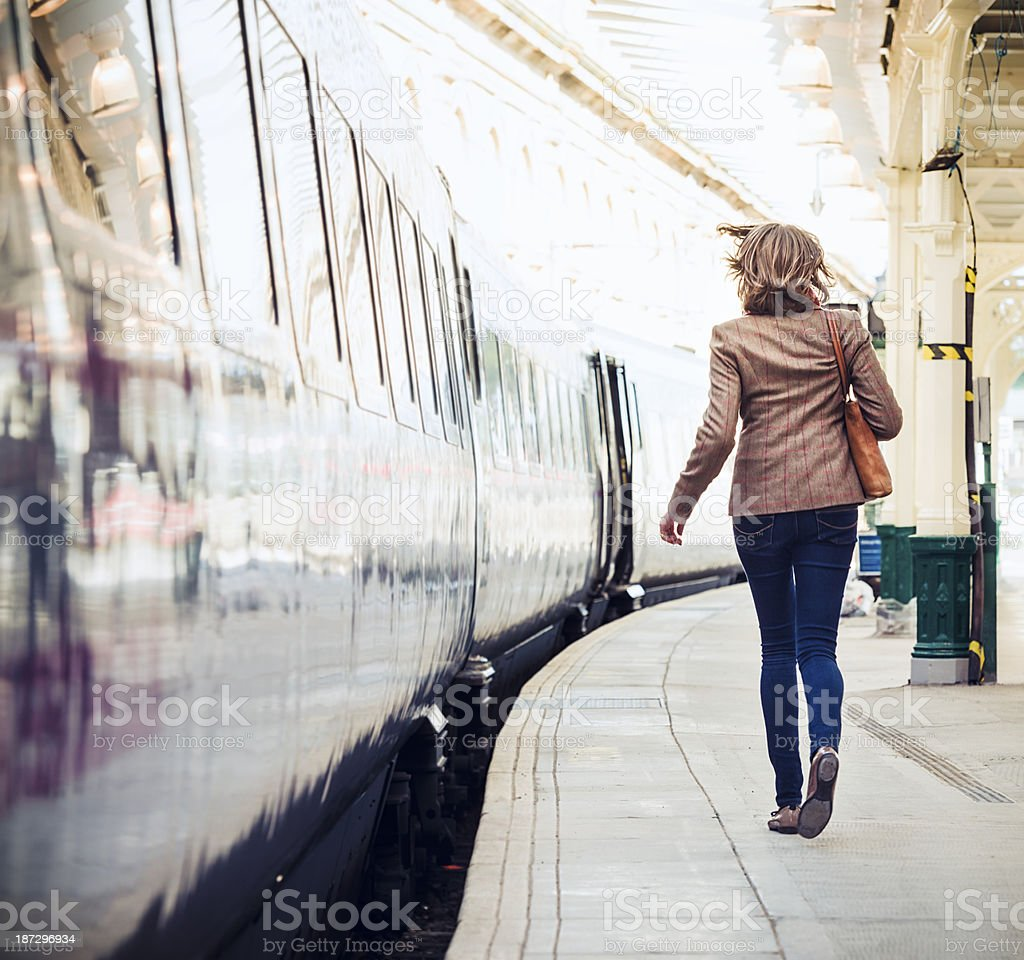 Running To Catch The Train stock photo
