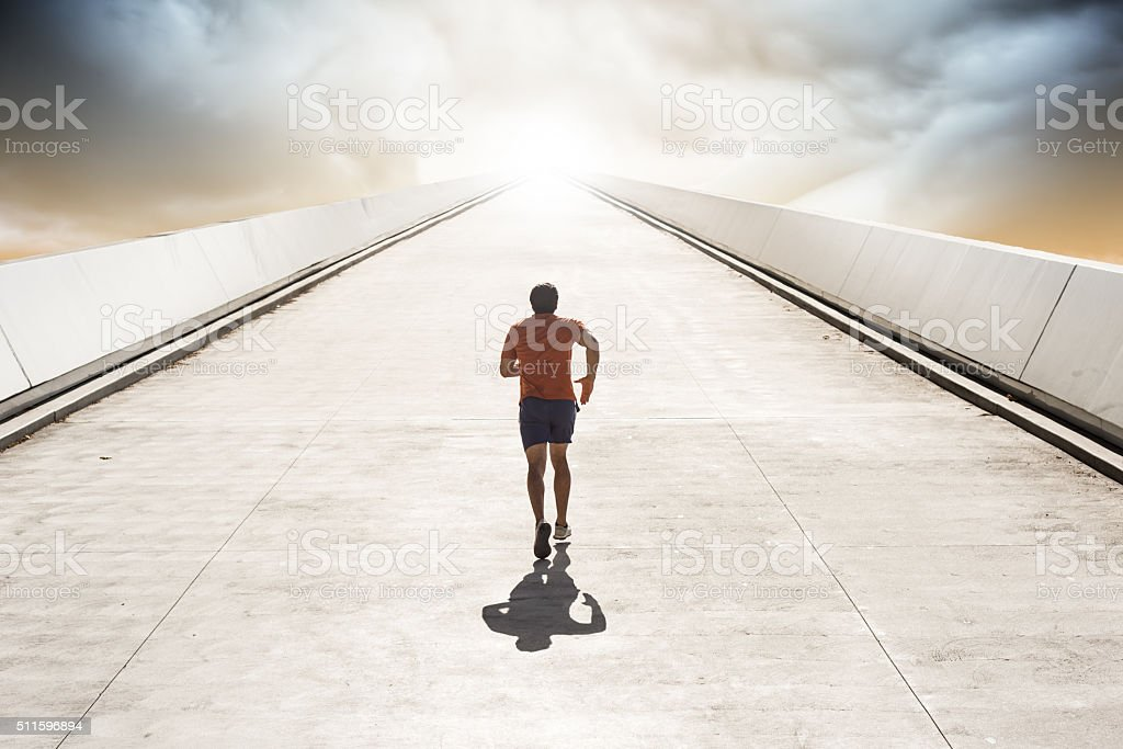 Running to Heaven Up A Sttep Road stock photo