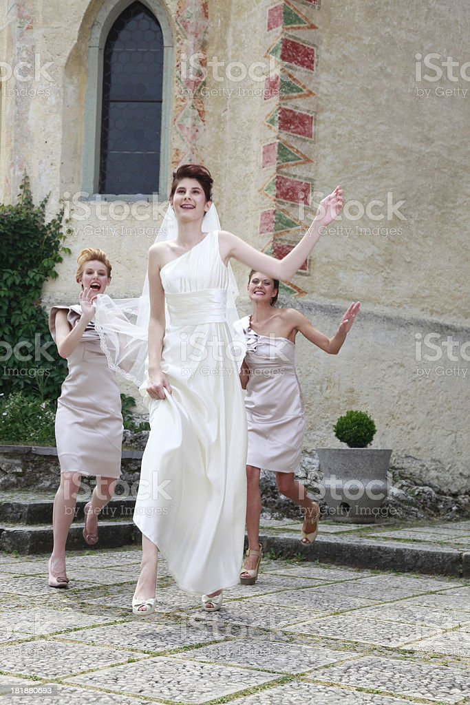 Running to wedding royalty-free stock photo