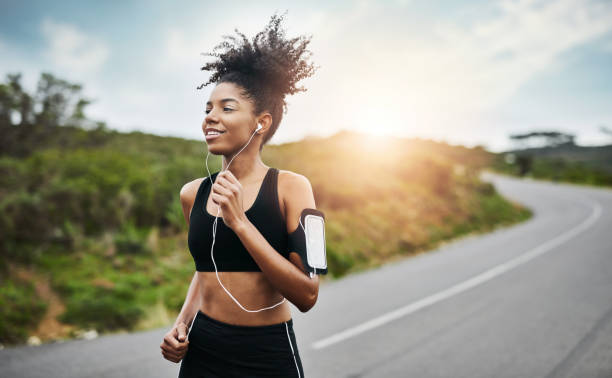 Running towards a healthier and happier lifestyle stock photo