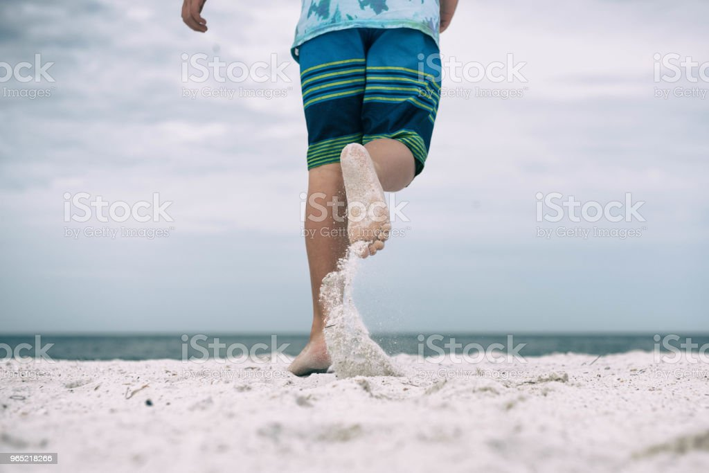Running towards the ocean royalty-free stock photo