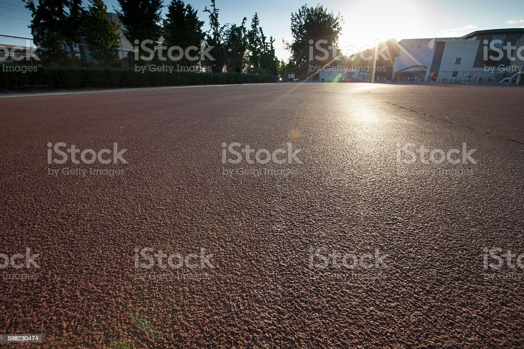 Running Track in dusk in Beijing, China foto royalty-free