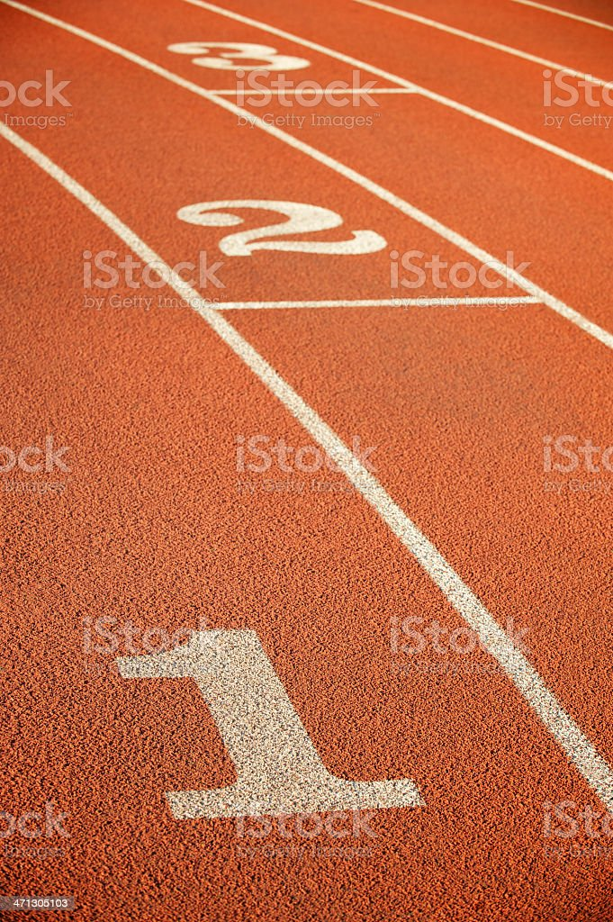 Running Track Lanes One Two Three stock photo
