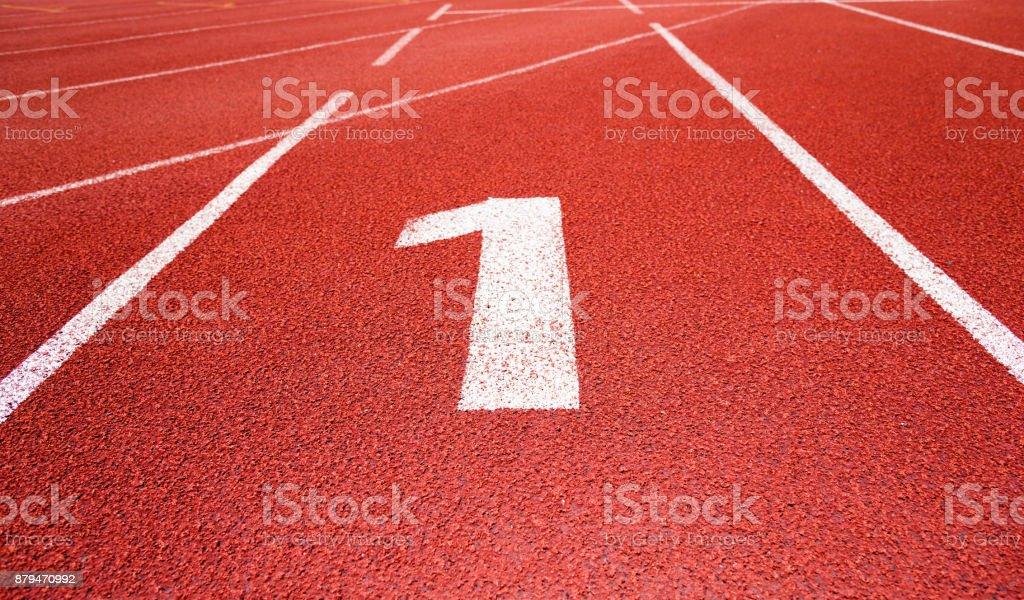 Running track number 1 in sport field stock photo