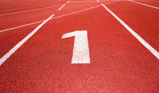 running track number 1 in sport field - number 1 stock pictures, royalty-free photos & images