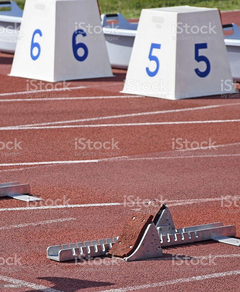 Running track starting line stock photo
