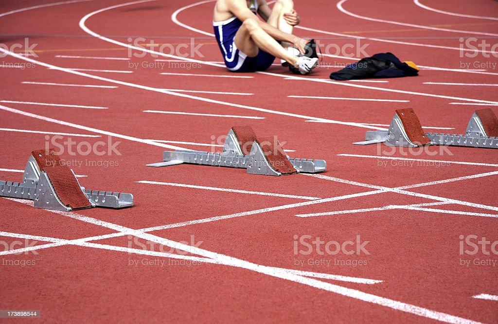 running track starting lines stock photo