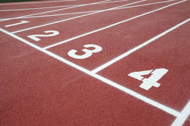 Running track with number 1-4, background stock photo