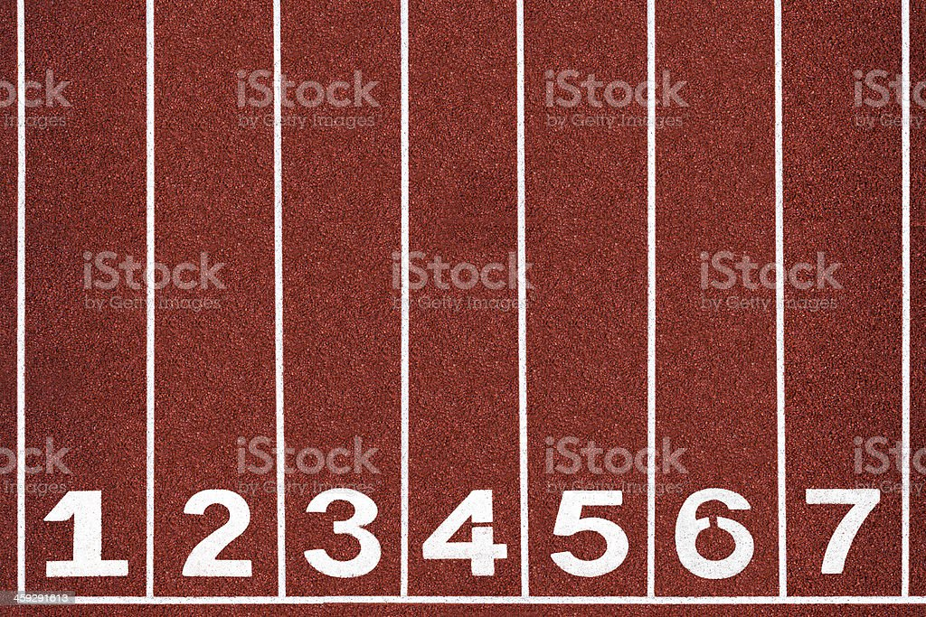 Running track with number 1-7, background. stock photo
